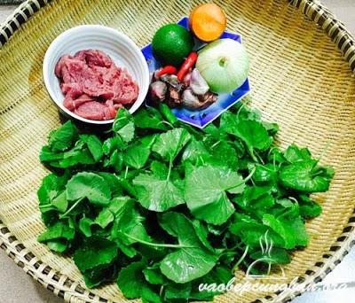 Cách làm gỏi rau má thịt bò 1